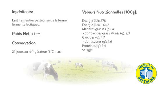 LE CRAULOIS - Mon fermier préféré - Produits laitiers fermiers - Lait Ribot Fermier 1 Litre Détails