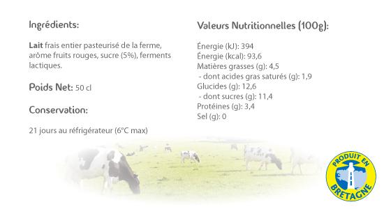 LE CRAULOIS - Mon fermier préféré - Produits laitiers fermiers - Petite Bouteille Fruits Rouges Détails