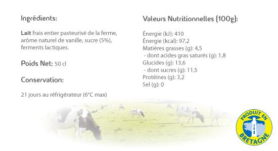 LE CRAULOIS - Mon fermier préféré - Produits laitiers fermiers - Petite Bouteille Vanille Détails